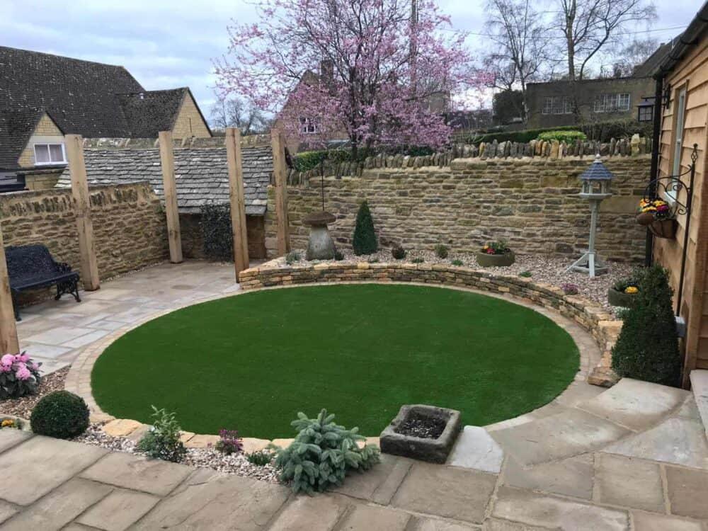 circle of artificial grass